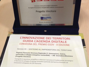 "Premio eGov 2014 per il progetto  ""Innovation4business – I4b"" ideato da Regione e CSP"